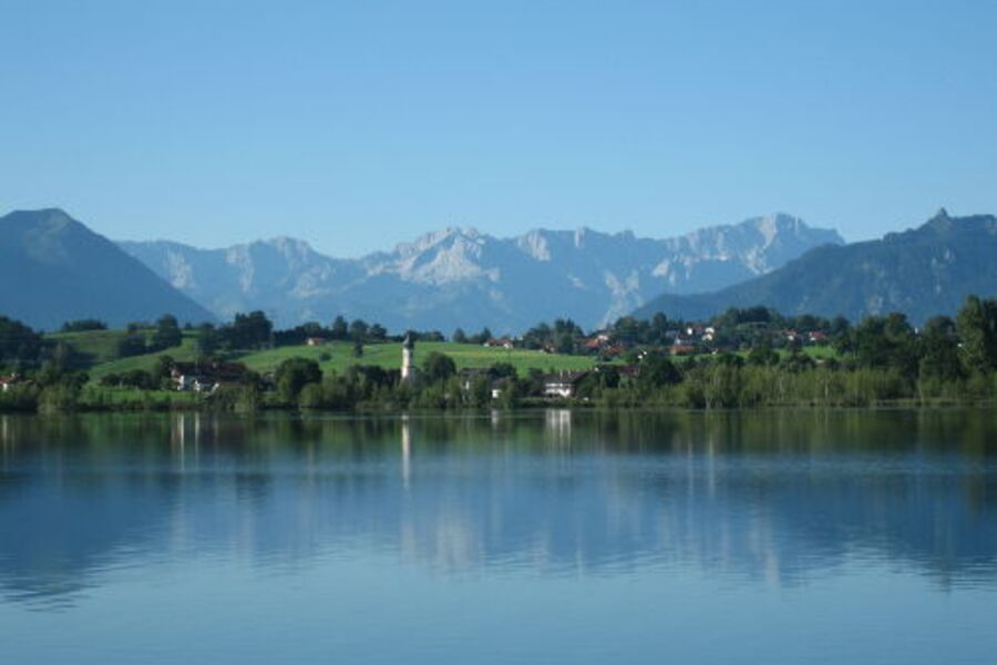 Aussicht Balkon - Riegsee zur Zugspitze