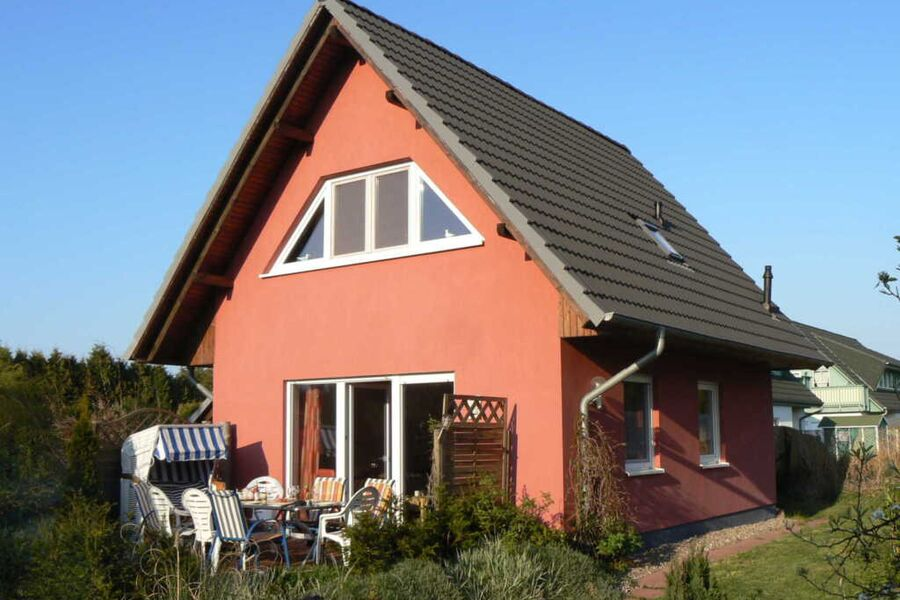 Blick auf die Terrasse des Ferienhauses