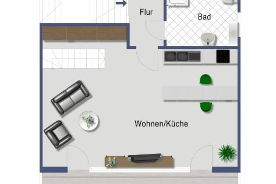 Stube mit Küche und Balkon