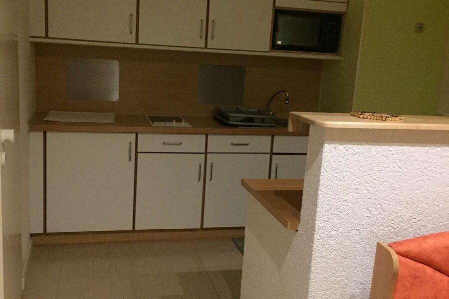 Küchenzeile m. Kühlschrank u. Mikrowelle