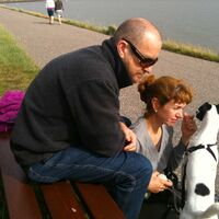 Vermieter: Susanne und Peter Dilg mit Jock