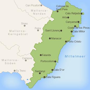 Porto Cristo Karte.Karte Mallorca Osten Kleve Landkarte