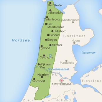 Noord-Holland - Nordseeküste-Karte