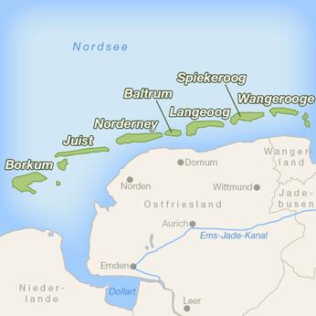 Ostfriesische Inseln-Karte