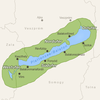 Plattensee (Balaton)-Karte