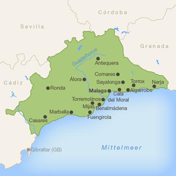 Malaga (Provinz)-Karte