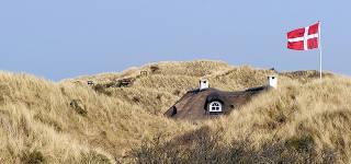 Ein in den D&auuml;nen stehendes Ferienhaus mit dänischer Flagge